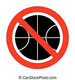 no, pallacanestro, illustration., palla, segno