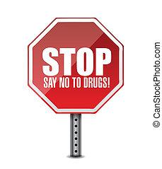 no, parada, ilustración, drugs., decir, señal
