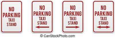 No parking any time. Set of classic road and street signs. Vector elements for production, graphic design, posters or information materials. Collection of parking and traffic safety signs.