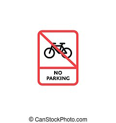 No parking bicycle roadsign isolated