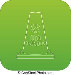No parking cone icon green vector