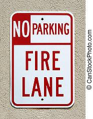 No Parking - Fire Lane sign
