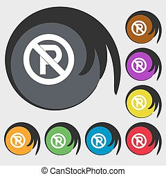 No parking icon sign. Symbol on eight colored buttons. Vector