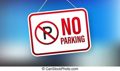 No parking on red background. Danger symbol. Warning attention sign. Stop sign. stock illustration