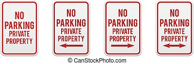 No parking private property. Set of classic road and street signs. Vector elements for production, graphic design, posters or information materials. Collection of parking and traffic safety signs.