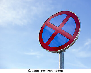 no parking road sign on blue sky background