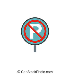 No parking sign icon, flat style