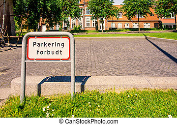 No parking sign in a park