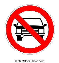 No parking sign - No cars allowed sign in white background