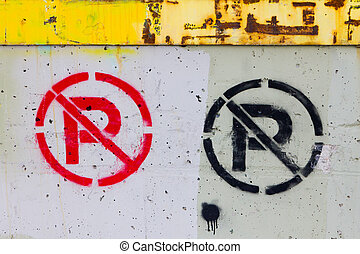No Parking Sign Painted On Grungy Wall