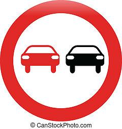 no passing traffic shiny sign