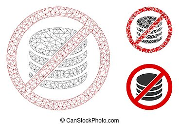 No Payment Vector Mesh Wire Frame Model and Triangle Mosaic Icon