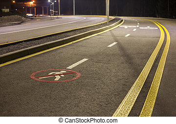 No Pedestrian Crossing Traffic Sign on modern wide smooth empty asphalt highway street stretching to horizon. Speed, safety, comfortable journey and professional road building concept.