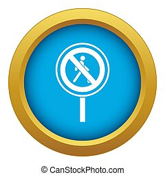 No pedestrian sign icon blue isolated