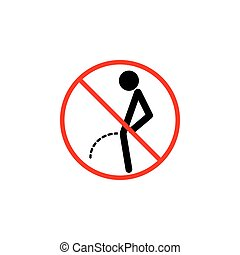 No peeing line icon, pee prohibition sign,