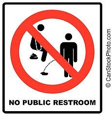 No peeing, prohibition sign, vector illustration.