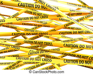 no, peligro, cintas, amarillo, precaución, cruz