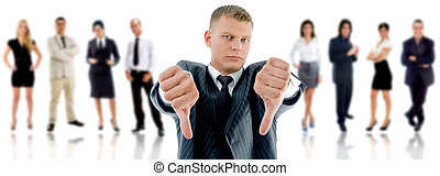 Angry CEO showing no on white background
