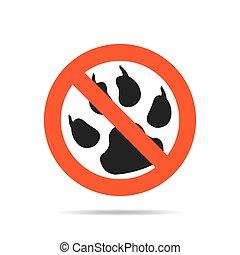 No permits animals - prohibition sign