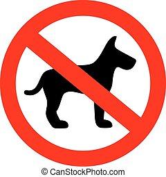 no, perro, vector, señal