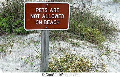No Pets Allowed on Beach sign