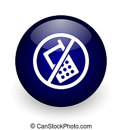 No phone blue glossy ball web icon on white background. Round 3d render button.