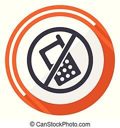 No phone flat design vector web icon. Round orange internet button isolated on white background.