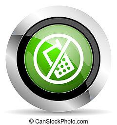 no phone icon, green button, no calls sign