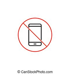 no phone prohibition sign on white background