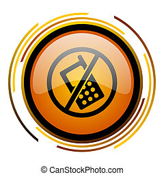 no phone round design orange glossy web icon