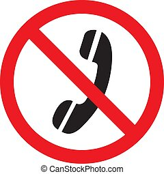 No Phone Sign icon on a white background. Vector illustration