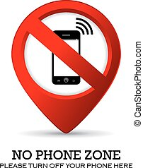 No phone sign isolated on white background