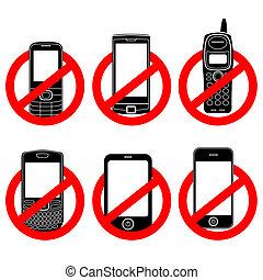 No phone vector sign set