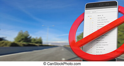 No phones while driving. Crossed out sign and smartphone on blur asphalt road. 3d illustration