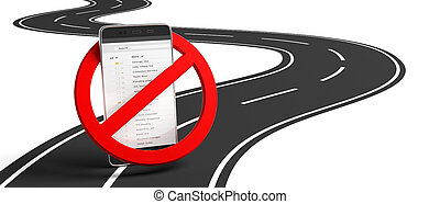 No phones while driving. Crossed out sign and smartphone on winding asphalt road, white background, isolated, cutout. 3d illustration
