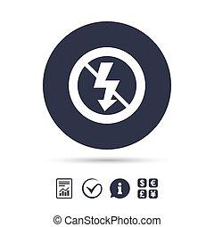 No Photo flash sign icon. Lightning symbol. Report document...