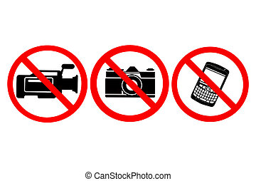 No photography, no video, no phone allowed on white background