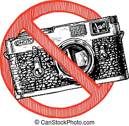 No photos sign - No photography sign. Vector hand drawn...