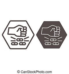 No pills line and solid icon, life without addiction concept, anti drug sign on white background, Narcotics destroy icon in outline style for mobile concept and web design. Vector graphics