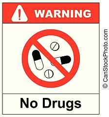 No pills sign, isolated on white background, vector illustration isolated on white background. No drugs icon. Red warning prohibition symbol