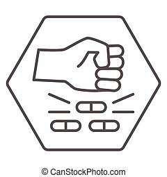 No pills thin line icon, life without addiction concept, anti drug sign on white background, Narcotics destroy icon in outline style for mobile concept and web design. Vector graphics