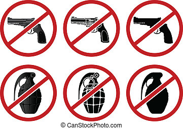 no pistols and grenades. vector illustration