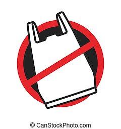 No plastic bag icon logo