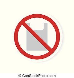 no plastic bag icon- vector illustration