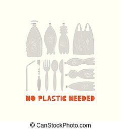 No plastic needed vector illustrations set