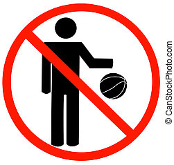 no playing allowed - stick figure bouncing ball with not...