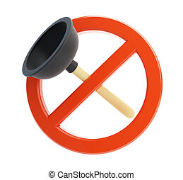 no plunger 3d Illustrations on a white background