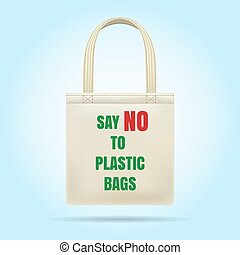 No polyethylene green recycled bag. Vector not plastic eco bag for store, textile ecology friendly shopping bagging