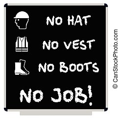 No PPE No Job message on blackboard - No hat no boots no...