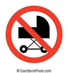 No Pram sign illustration.